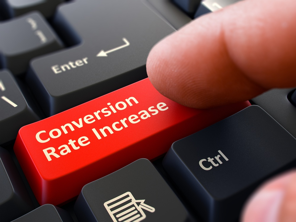 Conversion Rate Increase Red Button - Finger Pushing Button of Black Computer Keyboard. Blurred Background. Closeup View. 3d Illustration..jpeg
